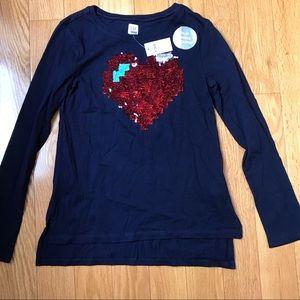 NWT Gap XL Sequins Heart Blue/Red girls top